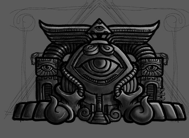 Psychedelic temple sketch by George Coghill