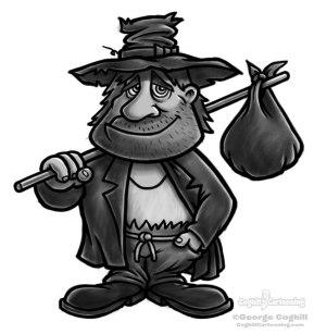 Hobo cartoon character sketch