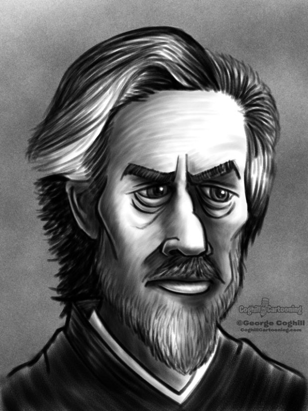 Alan Watts Cartoon Portrait Sketch