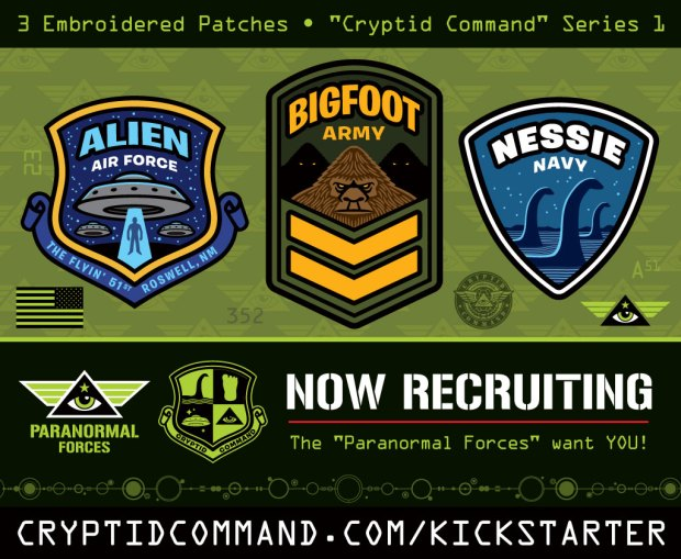 Cryptid Command Bigfoot Nessie UFO Aliens embroidered patches on Kickstarter