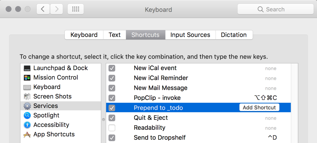 macos keyboard shortcuts prefences