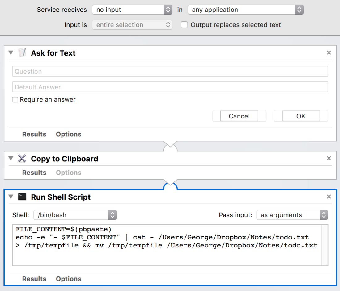 prepend text automator screenshot